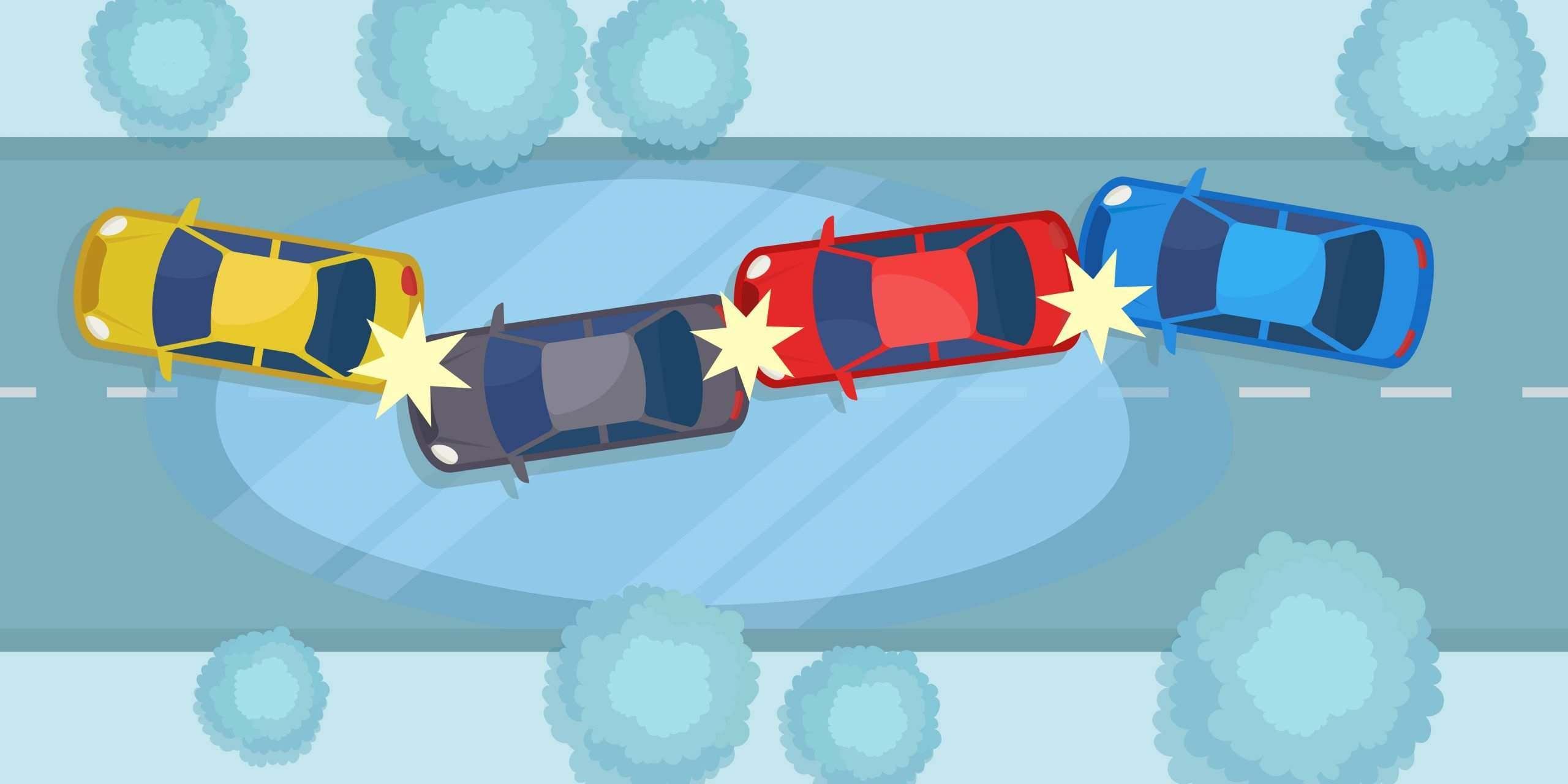 vector of a multi-car accident